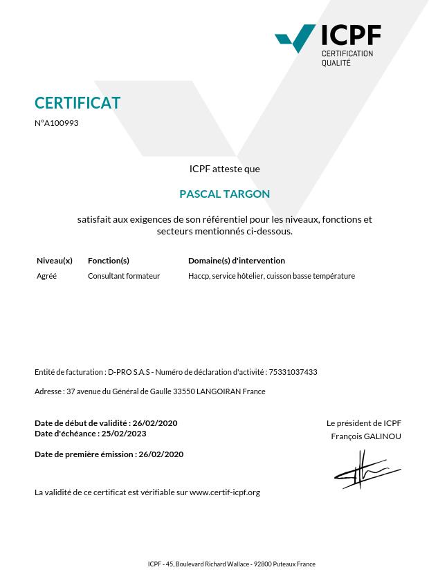 Certification formateur